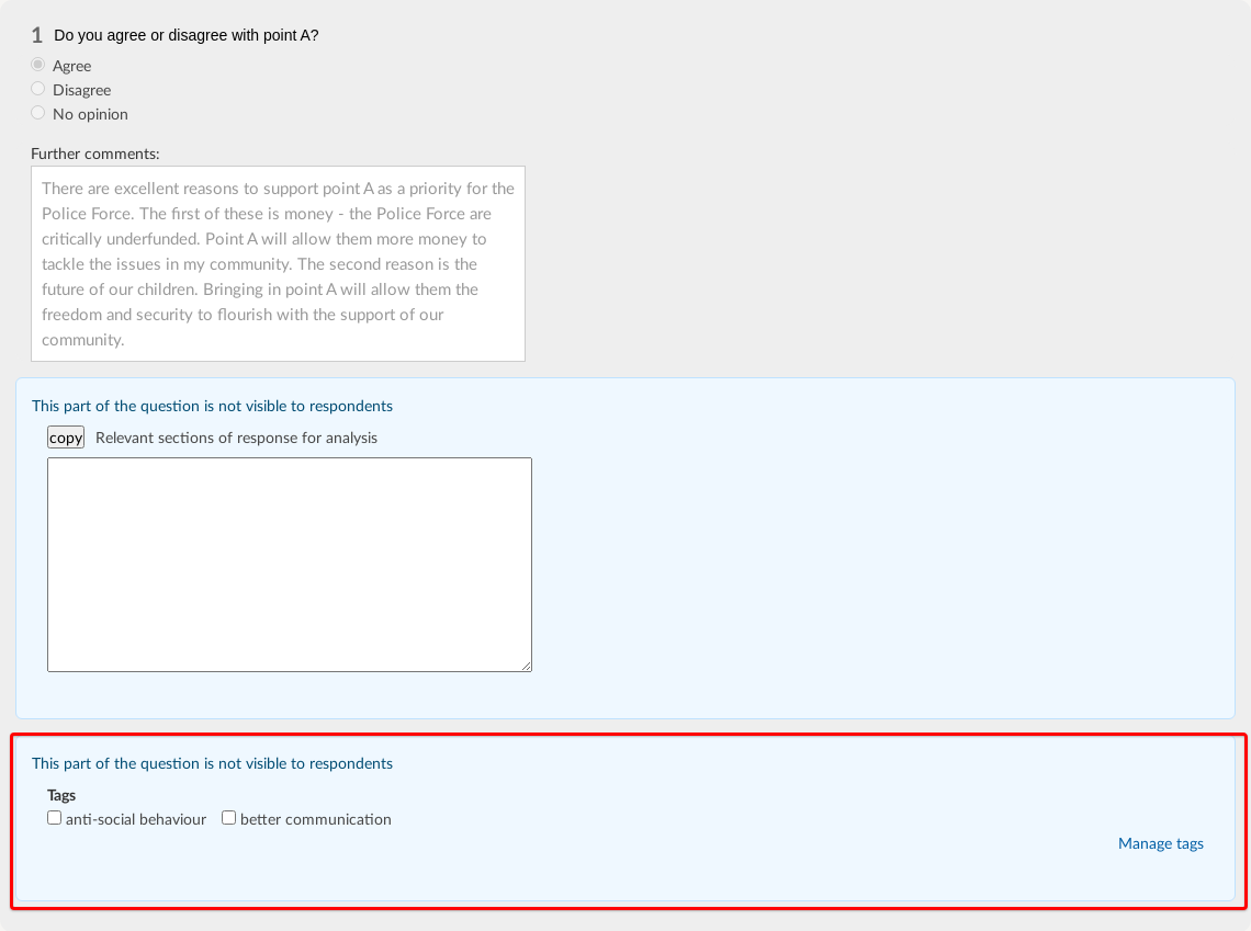 a question in the analyse responses page with the analysis text box and question tags below it, some of the tags have been ticked to reflect the themes in the answer and the tag area is outlined with a red square