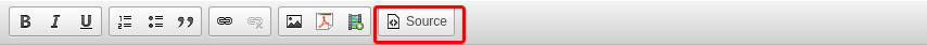 Text editor bar with the Source button circled. Screenshot.