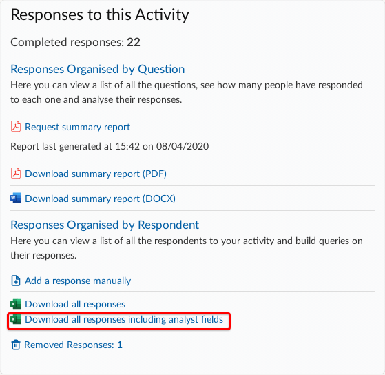 Consultation dashboard has options to download all responses and to download all responses including analyst fields