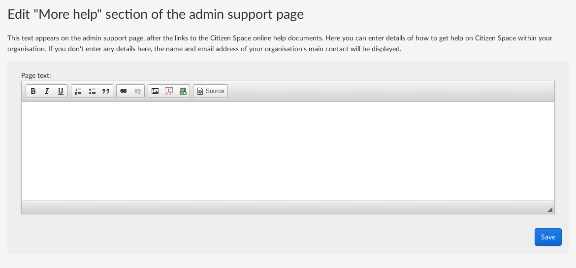 Screenshot of field to edit the content on the admin support page