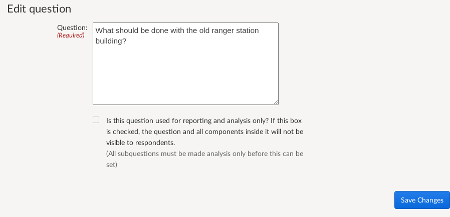 Showing an example of adding a question