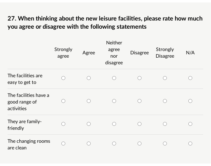 Example of a matrix question about leisure with Likert Scale answer options