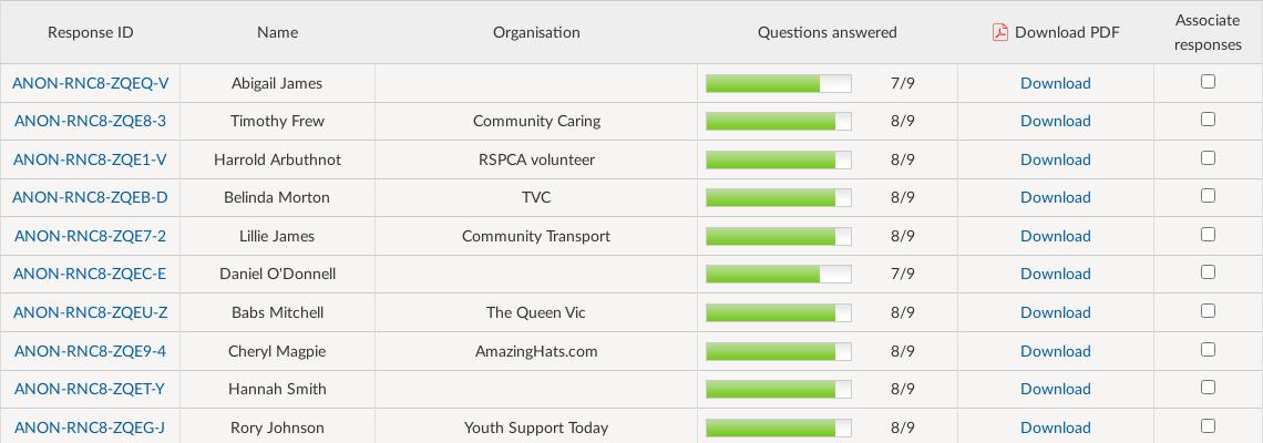 Respondent list of individual PDF responses to download. Screenshot.