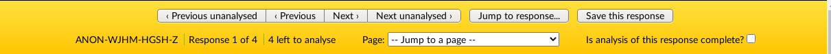 the yellow bar at the top fo the analyse responses page which shows you various functions, these are detailed in the following text