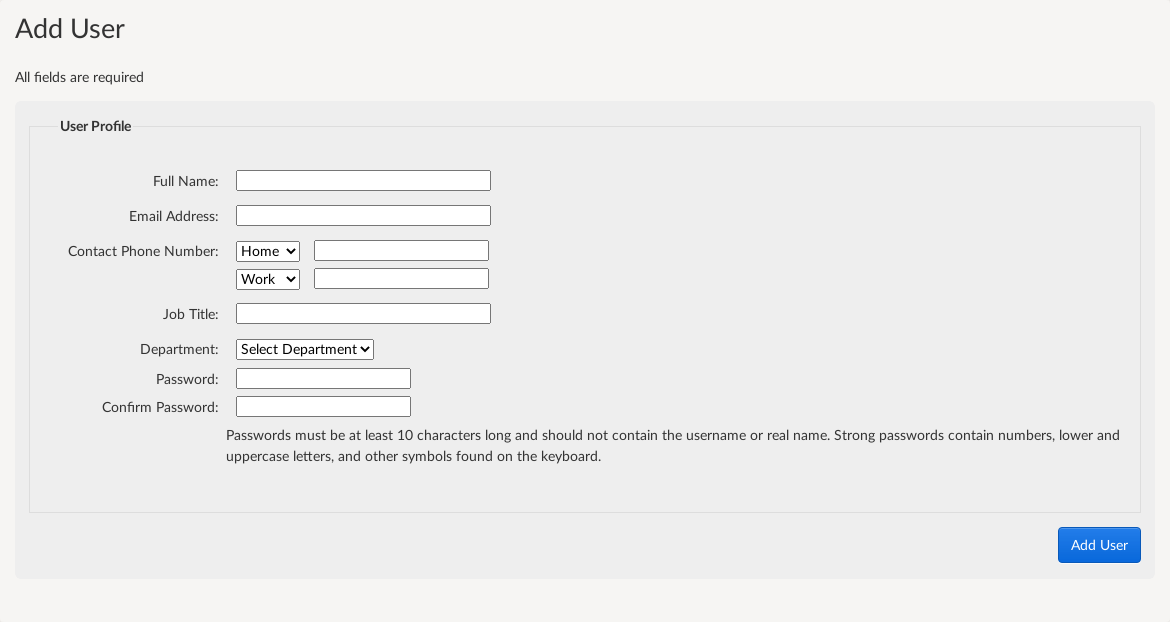 Screenshot showing the new user form